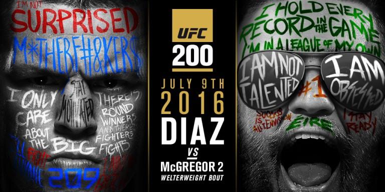 UFC 200: Diaz – McGregor II ja muut varmistuneet ottelut